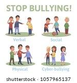 stop bullying in the school. 4... | Shutterstock .eps vector #1057965137