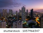 panama city skyline at night  ... | Shutterstock . vector #1057966547
