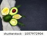 green vegetables avocados ... | Shutterstock . vector #1057972904