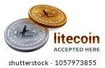 litecoin. accepted sign emblem. ... | Shutterstock .eps vector #1057973855