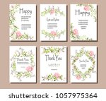 set of postcards with pink... | Shutterstock .eps vector #1057975364
