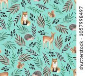 seamless pattern with foxes ... | Shutterstock . vector #1057998497