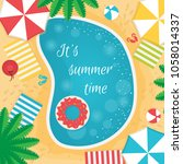 cool summer sea and beach.... | Shutterstock .eps vector #1058014337
