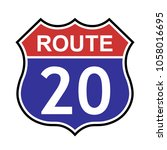 us route 20 sign  shield sign...   Shutterstock .eps vector #1058016695