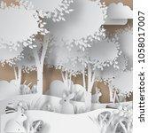 vector abstract paper cut... | Shutterstock .eps vector #1058017007