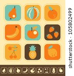 set of fruit icons  color and... | Shutterstock .eps vector #105802499