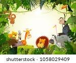 Wildlife Animals Landscape/ Illustration of cute cartoon wild animals from african savannah, including hippo, lion, gorilla, elephant, giraffe, gazelle, ostrich and zebra with jungle background | Shutterstock vector #1058029409