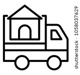 a delivery van transporting a...   Shutterstock .eps vector #1058037629