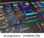 colorful keyboard close. | Shutterstock . vector #1058041781