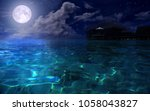 full moon over the azure sea | Shutterstock . vector #1058043827