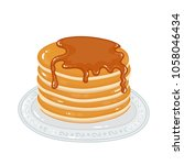 pancakes with maple syrup  | Shutterstock .eps vector #1058046434