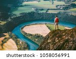 hiking adventure in mountains... | Shutterstock . vector #1058056991