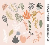 set of abstract modern floral... | Shutterstock .eps vector #1058059289