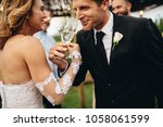 newlyweds clinking glasses and... | Shutterstock . vector #1058061599
