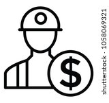 employee wages  line icon | Shutterstock .eps vector #1058069321
