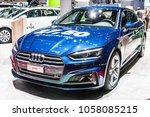 Small photo of Geneva, Switzerland, March 06, 2018: metallic blue Audi A5 Sportback g-tron at 88th Geneva International Motor Show GIMS