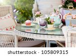 Stock photo afternoon tea and cakes in the garden 105809315