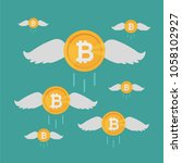 bitcoin coin flies with wings ...   Shutterstock .eps vector #1058102927