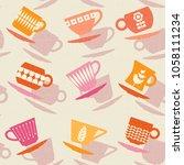 seamless retro pattern of... | Shutterstock .eps vector #1058111234