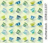 seamless retro pattern of...   Shutterstock .eps vector #1058111237
