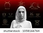 priestess of red magic ...   Shutterstock . vector #1058166764