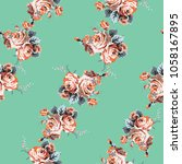 shabby chic vintage roses... | Shutterstock .eps vector #1058167895