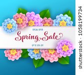 floral spring sale banner with... | Shutterstock .eps vector #1058199734