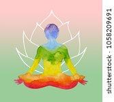 7 chakra human lotus pose yoga  ... | Shutterstock . vector #1058209691