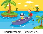 illustration of kids in a boat | Shutterstock . vector #105824927