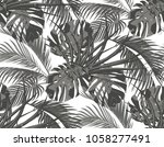 jungle. black and white leaves... | Shutterstock . vector #1058277491