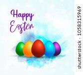 vector llustration happy easter ... | Shutterstock .eps vector #1058315969