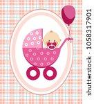 a little girl in a pink... | Shutterstock .eps vector #1058317901