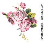 shabby chic vintage roses ... | Shutterstock . vector #1058321624