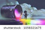 fantasy illustration showing a... | Shutterstock . vector #1058321675