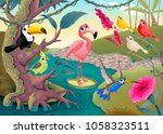group of funny tropical birds... | Shutterstock .eps vector #1058323511