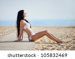 young beautiful woman on the... | Shutterstock . vector #105832469