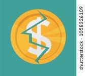 golden cracked dollar coin.... | Shutterstock .eps vector #1058326109