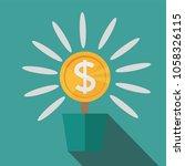 flat  potted money dollar... | Shutterstock .eps vector #1058326115