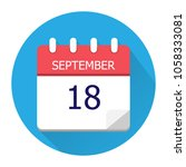 september 18. vector flat daily ... | Shutterstock .eps vector #1058333081