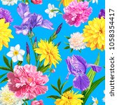 seamless pattern with peonies ... | Shutterstock .eps vector #1058354417