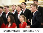 Small photo of SAINT-PETERSBURG, RUSSIA - FEBRUARY 25, 2018: Academic Choir of the Gnessins Musical College, Moscow, Russia, performs during V Children and Youth World Choral Championship