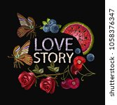 embroidery. love story slogan.... | Shutterstock .eps vector #1058376347