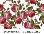 embroidery roses seamless... | Shutterstock .eps vector #1058376359