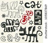 doodle cats | Shutterstock .eps vector #105837869