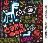 crazy childlike doodles  hand...   Shutterstock .eps vector #105837881