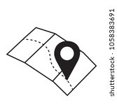 pin sign location map icon with ... | Shutterstock .eps vector #1058383691