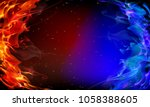 abstract red and blue fire   Shutterstock .eps vector #1058388605