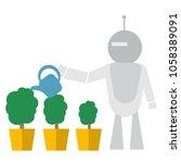 modern robot watering flowers... | Shutterstock .eps vector #1058389091