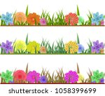 set of grass with colorful...   Shutterstock .eps vector #1058399699