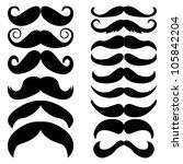 vector set of mustache. | Shutterstock .eps vector #105842204